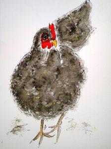 Sort høne (34,4x44,4 cm - 1.500 kr.)