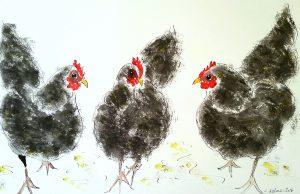 3 sorte høns (60,5x46,5 cm - SOLGT)