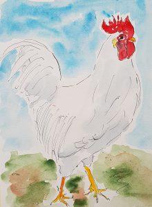 Hvid høne (34,4x44,4 cm - SOLGT)