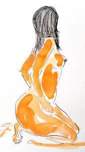 Nøgen kvinde (34,4x44,4 cm - SOLGT)