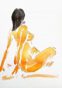 Nøgen kvinde (34,4x44,4 cm - 1.500)