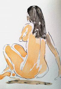Nøgen kvinde (19,5x26,5 cm – 450 kr.)